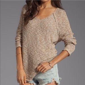 Free People Poppyseed Lace Back Sweater V Neck